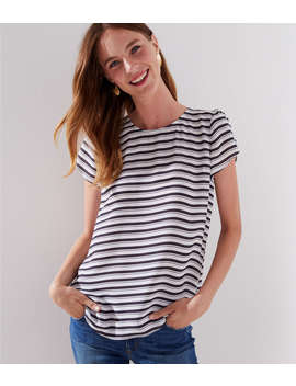 Petite Striped Button Back Top by Loft