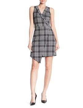 Surplice V Neck Knit Crepe Asymmetrical Dress by Vanity Room