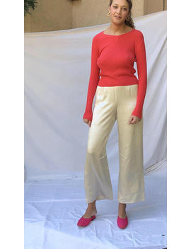 80s Silk Satin Buttercream Wide Leg Pants / High Waist Silk Charmeuse Pants Made In Usa  | 27 W Size 4 by Recap Vintage Studio