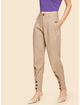 Button Hem Tapered Pants by Shein