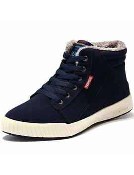 Vilocy Men's Winter High Top Fashion Sneaker Fur Lined Skate Shoes Outdoor Sport Warm Ankle Snow Boots by Vilocy