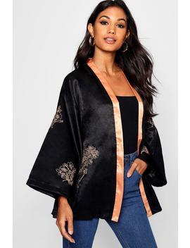 Boutique Woven Satin Embroidered Kimono by Boohoo