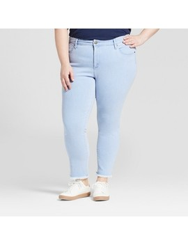 Women's Plus Size Frayed Hem Skinny Crop Jeans   Universal Thread™ Light Wash by Shop All Universal Thread™