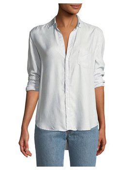 Eileen Striped Modal Long Sleeve Button Front Shirt by Frank & Eileen