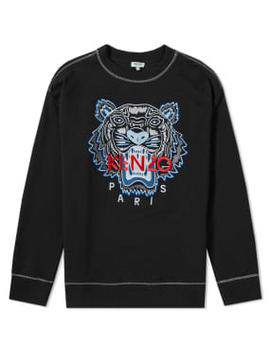 Kenzo Contrast Stitch Embroidered Tiger Crew Sweat by Kenzo