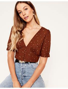 Button Up Crop Top by Glassons