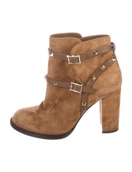 Valentino Rockstud Suede Boots by Valentino