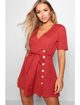 Elva Short Sleeve Tie Waist Button Front Dress by Boohoo