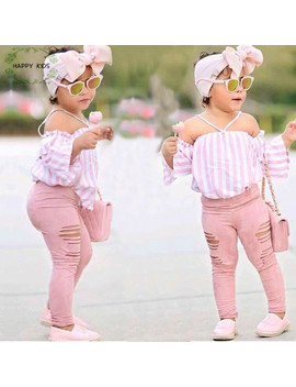 Kids Baby Girl Stripe Off Shoulder Hanging Neck Top + Pink Hole Pants Outfits Clothes Summer 3 Pcs Kid Girls Clothing Set Dtz376 by Kids Tales