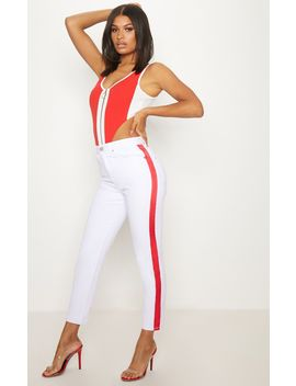 White Red  Side Stripe Straight Leg Jean by Prettylittlething
