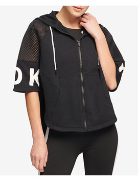 Sport Zip Cropped Poncho Hoodie, Created For Macy's by Dkny