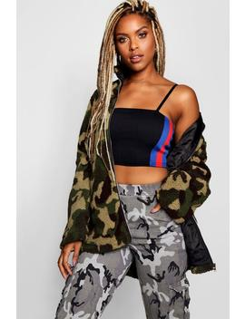 Daisy Camo Funnel Neck Fleece Jacket by Boohoo
