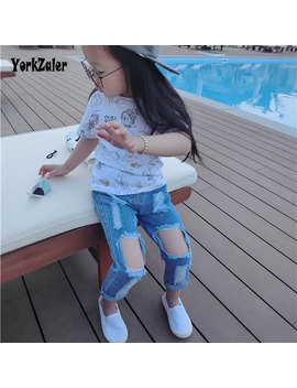 Yorkzaler Children Broken Hole Pants 2018 Fashion Infant Denim Jeans Boy Girl Ripped Kids Long Trousers Baby Spring Clothes by Yorkzaler