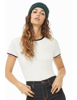 Striped Trim Ringer Tee by Forever 21