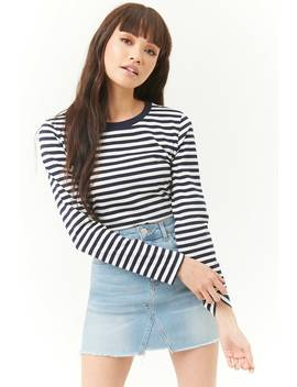 Striped Curved Hem Top by Forever 21