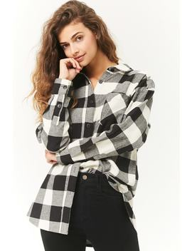 Buffalo Plaid Longline Flannel Shirt by Forever 21