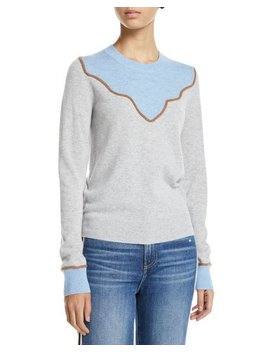 Atty Crewneck Colorblock Cashmere Pullover Sweater by Veronica Beard
