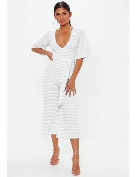 White Stripe Kimono Sleeve Culotte Jumpsuit by Missguided