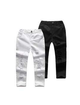 Fashion Kid Baby Girls Clothes White Stretch Holes Pants Casual Denim Boys Pants For Kids Jeans For Kids Boys  by Yeedison