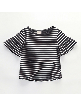 Summer Cotton Kids Baby Girls Short Sleeve T Shirts Striped Tops For Toddler Girl Pagoda Sleeve Tees Children Clothes by Cavigour