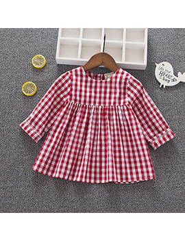 Cavigour New Arrival Girls Cotton Dress Kids Long Sleeve Plaid Dress 1 4 Years Baby Girls Clothing by Cavigour