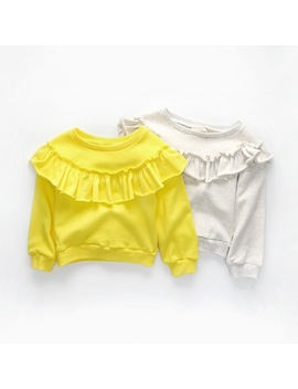 Cavigour Top Quality Cotton Girls Long Sleeve T Shirts Autumn Baby Girl Sweatshirts Solid Color Ruffles Design Tops For Girl by Cavigour