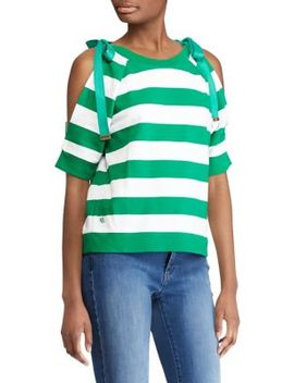 French Terry Tied Stripe Top by Lauren Ralph Lauren