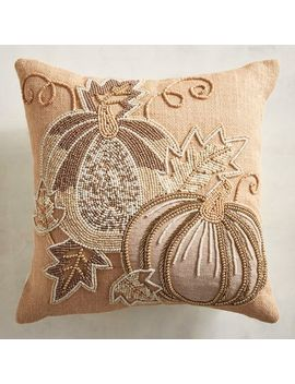 Beaded Pumpkin Natural Mini Pillow by Pier1 Imports