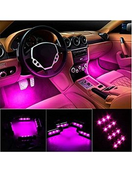 Car Led Strip Light, Ej's Super Car 4pcs 36 Led Car Interior Lights Under Dash Lighting Waterproof Kit,Atmosphere Neon Lights Strip For Car,Dc 12 V(Pink) by Ej's Super Car