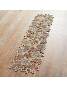"Metallic Leaves 54"" Beaded Table Runner by Pier1 Imports"