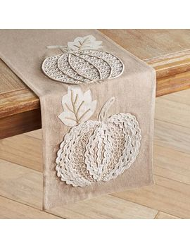 "Embroidered  Natural Pumpkin 108"" Table Runner by Pier1 Imports"