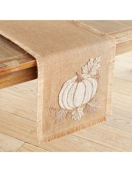 "Stitched Pumpkin Burlap 72"" Table Runner With Fringe by Pier1 Imports"