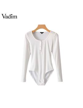 Vadim Women Basic Solid Knitted Bodysuits Long Sleeve Stretchable Playsuits Female Fashion Casual Streetwear Chic Tops Ka211 by Vadim