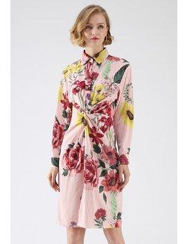 Floral Soul Twist Stripe Shirt Dress by Chicwish