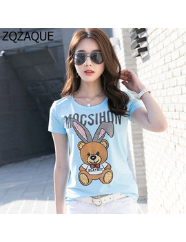 Factory Outlet 2018 New Fresh Summer Printing Tops Fashion Sequined Manual Drill Bear Pattern Women Blue Tees White Tops Sy1620 by Zqzaque