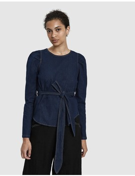 Janella Denim Tie Waist Top by Stelen