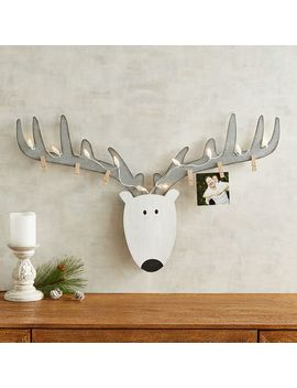 White Reindeer Led  Light Up Photo &Amp; Card Holder by Pier1 Imports