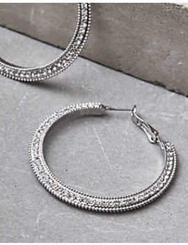 Aeo Silver Pavé Hoop Earrings by American Eagle Outfitters