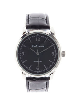 Black Leather Analogue Watch by Ben Sherman