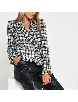White Check Boucle Double Breasted Jacket by River Island