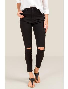 Harper Heritage High Rise Knee Slit Jeans by Francesca's