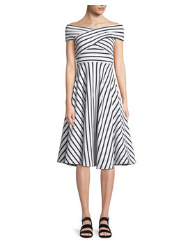 Jill Striped Off The Shoulder Dress by Milly