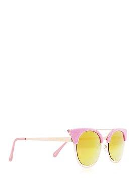 Ava Pink Flock Aviator Kitten Sunglasses by Skinnydip