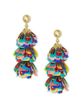 Lenni Gold Statement Earrings In Multi Color Feathers by Kendra Scott
