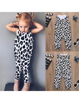 Muqgew Toddler Kids Baby Girls Leopard Romper Jumpsuit Trousers Summer Clothes Floral Girls Suit Summer Children Clothing by Muqgew