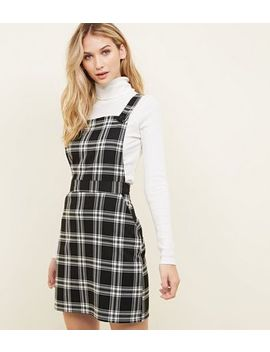 Black Check Button Strap Pinafore Dress by New Look
