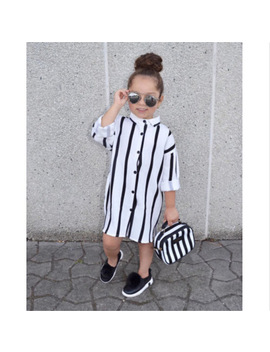 Little Ladies Lovely Children Girls Shirts Long Sleeve Striped Toddler Girls Kid Fashion Buttons Long Shirt  by Pudcoco