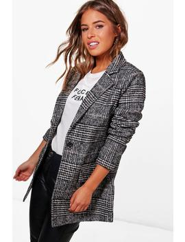 Petite Long Manteau à Carreaux by Boohoo