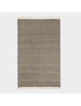 5'x8' Black And Ivory Woven Chevron Indoor Outdoor Rug by World Market