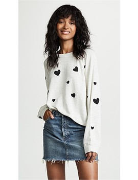 Raglan Sweatshirt With Scattered Hearts by Monrow